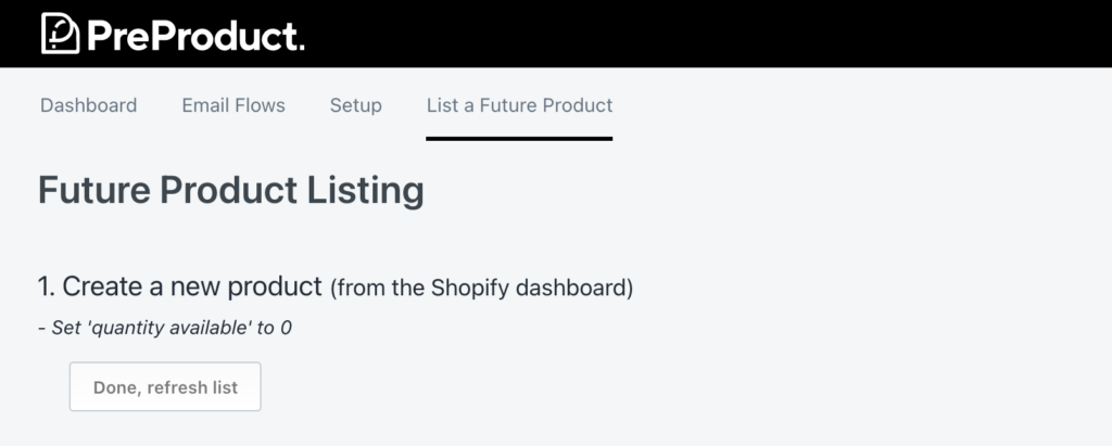 Create a new product listing