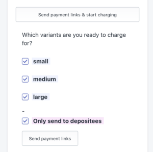 Tick box to only send payment links to depositees